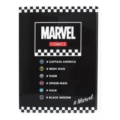 〔小禮堂〕漫威英雄 Marvel 雙開式文件夾《黑.白格》檔案夾.資料夾.收納夾