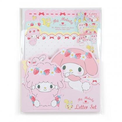 〔小禮堂﹞美樂蒂 日製造型信紙組《粉.草莓雛菊》信封.便條紙