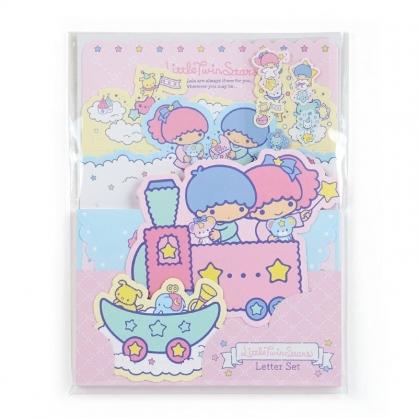 〔小禮堂﹞雙子星 日製造型信紙組《粉藍.坐火車》信封.便條紙