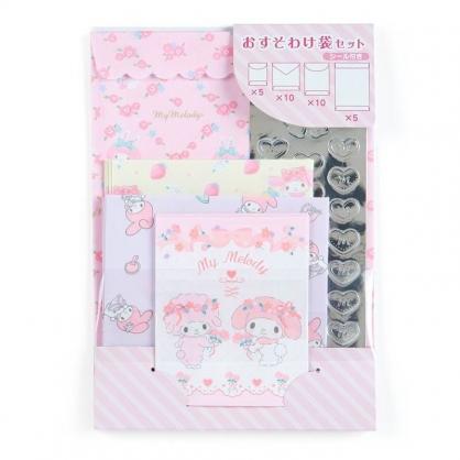 〔小禮堂﹞美樂蒂 日製信封貼紙組《粉紫.玫瑰花》禮金袋.禮物包裝