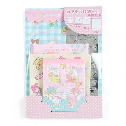 〔小禮堂﹞Sanrio大集合 日製信封貼紙組《粉黃.窗戶》禮金袋.禮物包裝
