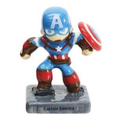 〔小禮堂〕漫威英雄 Marvel美國隊長 迷你造型陶瓷擺飾《藍紅.站姿》公仔.模型