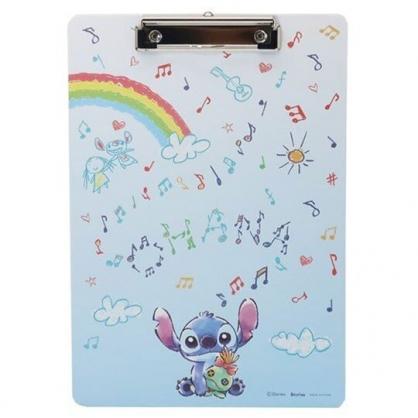 〔小禮堂〕迪士尼 史迪奇 木質文件夾板《藍白.彩虹》資料夾.板夾.菜單夾