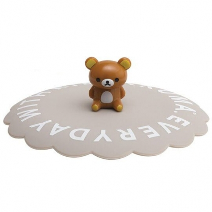 〔小禮堂〕懶懶熊 拉拉熊 立體造型矽膠杯蓋《灰棕.文字》直徑11cm.防漏杯蓋