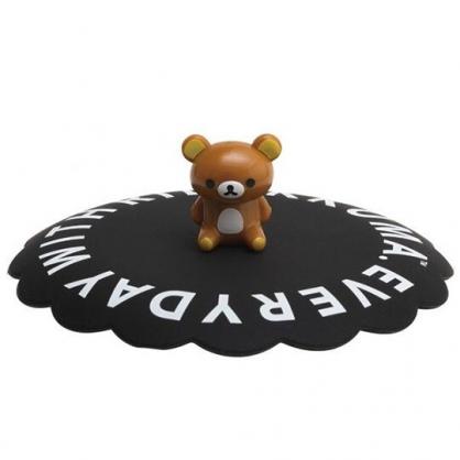 〔小禮堂〕懶懶熊 拉拉熊 立體造型矽膠杯蓋《黑棕.文字》直徑11cm.防漏杯蓋