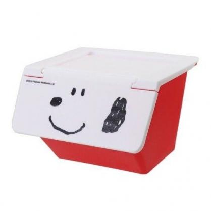 〔小禮堂〕史努比 可堆疊塑膠前開式掀蓋收納盒《紅白》置物盒.文具盒