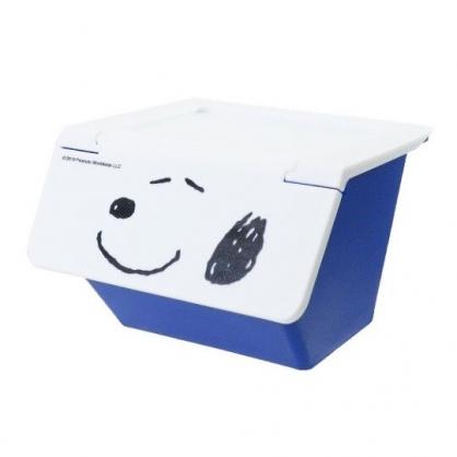 〔小禮堂〕史努比 可堆疊塑膠前開式掀蓋收納盒《藍白》置物盒.文具盒