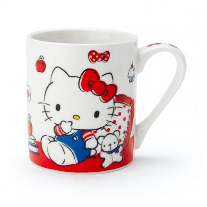 〔小禮堂〕Hello Kitty 陶瓷馬克杯《紅白.講電話》230ml.茶杯.咖啡杯