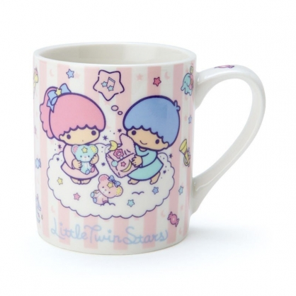 〔小禮堂〕雙子星 陶瓷馬克杯《粉藍.直紋》230ml.茶杯.咖啡杯