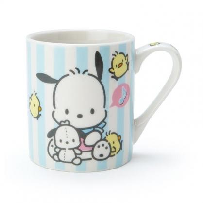 〔小禮堂〕帕恰狗 陶瓷馬克杯《藍白.直紋》230ml.茶杯.咖啡杯