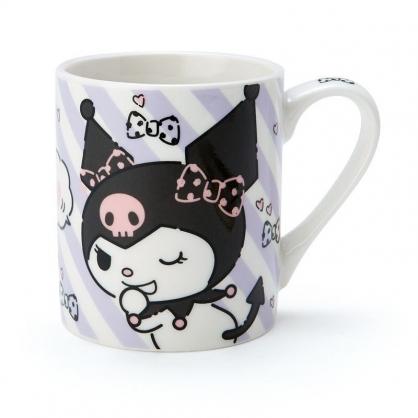 〔小禮堂〕酷洛米 陶瓷馬克杯《紫黑.斜紋》230ml.茶杯.咖啡杯