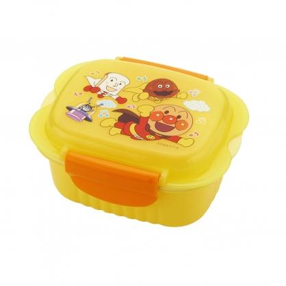 〔小禮堂〕麵包超人 方形透明塑膠保鮮盒《黃.音符》440ml.便當盒.食物盒.餐盒