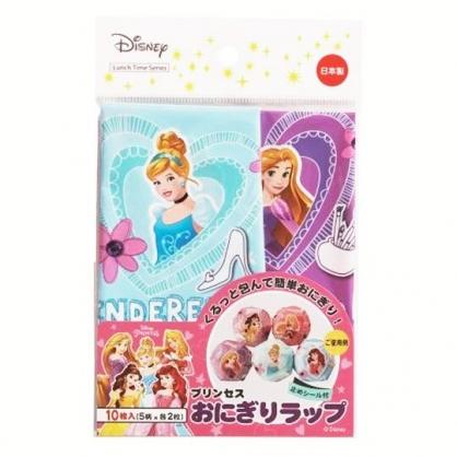 〔小禮堂〕迪士尼 公主 日製飯糰包紙防油紙《10入.藍紫.愛心框》16x10cm.食品包裝紙