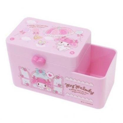 〔小禮堂〕美樂蒂 塑膠掀蓋雙格筆筒收納盒《粉.草莓窗戶》棉花盒.刷具筒