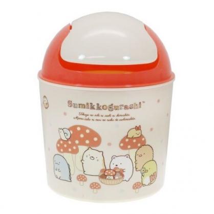 〔小禮堂〕角落生物 桌上型圓形塑膠平衡蓋垃圾筒《米橘.蘑菇》收納筒.紙屑筒