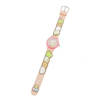 〔小禮堂〕角落生物 造型矽膠錶帶兒童手錶《粉.抱頭》休閒錶.腕錶