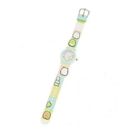 〔小禮堂〕角落生物 造型矽膠錶帶兒童手錶《綠.排坐》休閒錶.腕錶
