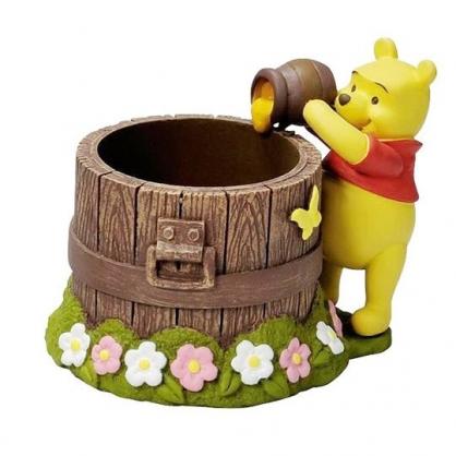 〔小禮堂〕迪士尼 小熊維尼 造型陶瓷筆筒收納筒《棕黃.倒蜂蜜》置物筒.刷具筒.擺飾