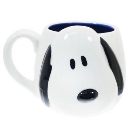 〔小禮堂〕史努比 造型陶瓷馬克杯《白.大臉》300ml.茶杯.咖啡杯
