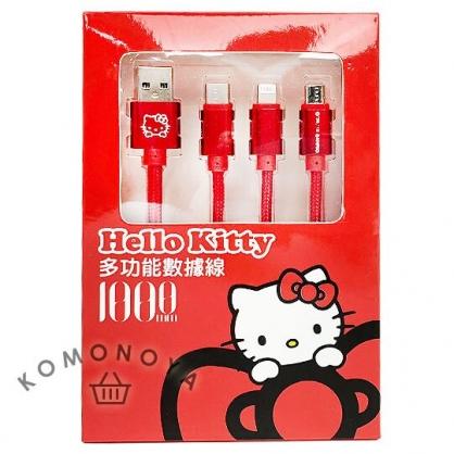 小禮堂 Hello Kitty 傳輸線 充電線 編織線 三合一 Micro USB/Lightning (紅)