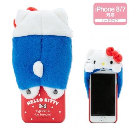 〔小禮堂〕Hello Kitty iPhone 8/7/6s/6 絨毛玩偶半包式皮質手機殼《藍白》裝飾殼