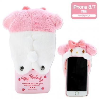 〔小禮堂〕美樂蒂 iPhone 8/7/6s/6 絨毛玩偶半包式皮質手機殼《粉白》裝飾殼