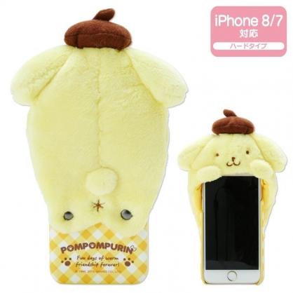 〔小禮堂〕布丁狗 iPhone 8/7/6s/6 絨毛玩偶半包式皮質手機殼《黃棕》裝飾殼