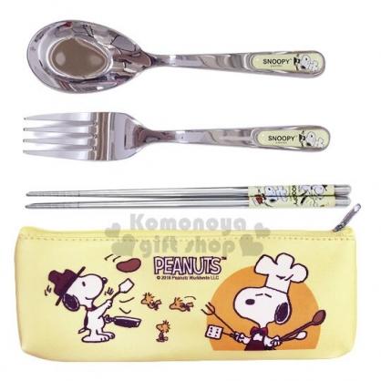 〔小禮堂〕史努比 三件式不鏽鋼餐具組附餐具袋《黃.廚師》叉匙.匙筷.環保餐具