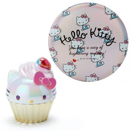 〔小禮堂〕Hello Kitty 造型球狀香味護唇膏鏡子組《紅金》櫻桃香.潤唇膏.隨身鏡