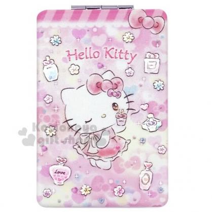 〔小禮堂〕Hello Kitty 塑膠長方型隨身雙面鏡《粉黃.香水瓶》放大鏡.折鏡