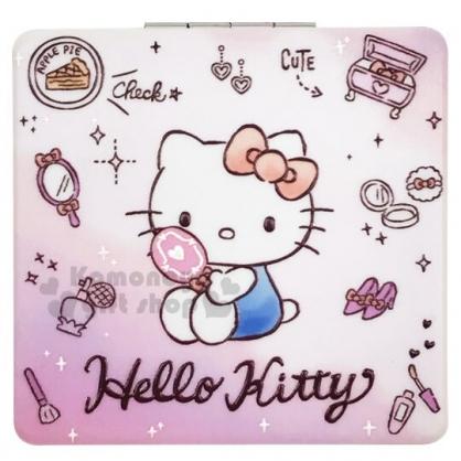〔小禮堂〕Hello Kitty 塑膠方型隨身雙面鏡《粉紫.照鏡子》放大鏡.折鏡