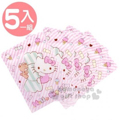 〔小禮堂〕Hello Kitty 透明方形夾鏈袋組《5入.粉.抱糖果》糖果袋.密封袋