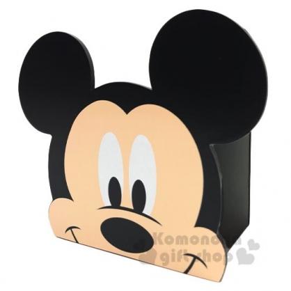〔小禮堂〕迪士尼 米奇 大臉造型木製相框筆筒收納盒《黑》刷具筒.置物筒