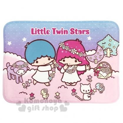 〔小禮堂〕雙子星 方形腳踏墊《粉藍.戴花圈》65x45cm.止滑海棉軟墊.地墊