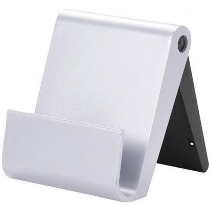〔小禮堂〕日本丸辰 日製塑膠折疊手機架附拭鏡刷《淺灰.盒裝》置物架.手機立架.拭鏡布