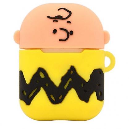 〔小禮堂〕史努比 查理布朗 Airpods 造型矽膠藍牙耳機盒保護套《黃棕》Apple Airpods矽膠套