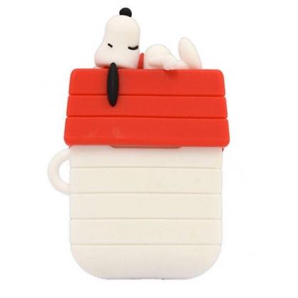 〔小禮堂〕史努比 Airpods 造型矽膠藍牙耳機盒保護套《白紅.屋頂》Apple Airpods矽膠套
