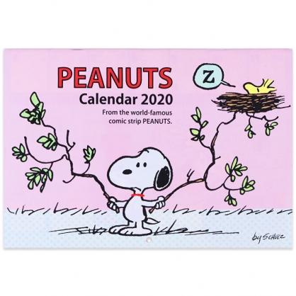 〔小禮堂〕史努比 2020 騎馬釘橫式信插掛曆《淡粉.樹枝》月曆.日曆.行事曆