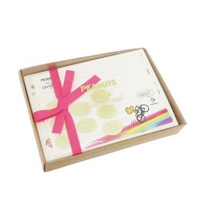 〔小禮堂﹞史努比 日製盒裝信紙組《米棕.腳踏車》信封.便條紙