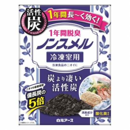 〔小禮堂〕日本白元 日製冷凍冰箱活性碳除臭盒《藍白》除臭劑.脫臭劑