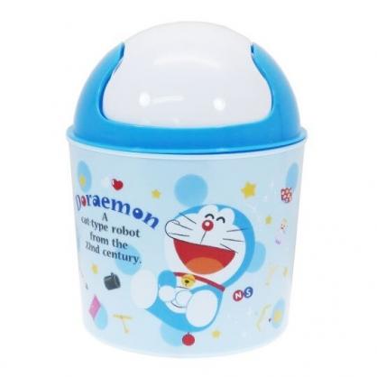 〔小禮堂〕哆啦A夢 桌上型圓形塑膠平衡蓋垃圾筒《藍白.大笑》收納筒.紙屑筒