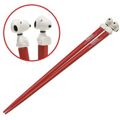〔小禮堂〕史努比 立體造型塑膠筷子《紅.坐姿》21cm.環保筷.環保餐具