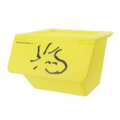 〔小禮堂〕史努比 糊塗塔客 可堆疊塑膠前開式掀蓋收納盒《黃》置物盒.文具盒