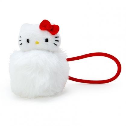 〔小禮堂〕Hello Kitty 毛球造型絨毛彈力髮束《白紅》髮圈.造型髮束