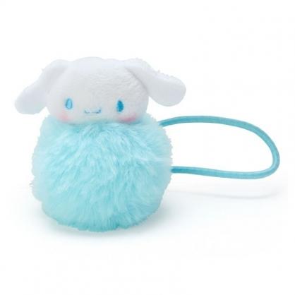 〔小禮堂〕大耳狗 毛球造型絨毛彈力髮束《藍白》髮圈.造型髮束