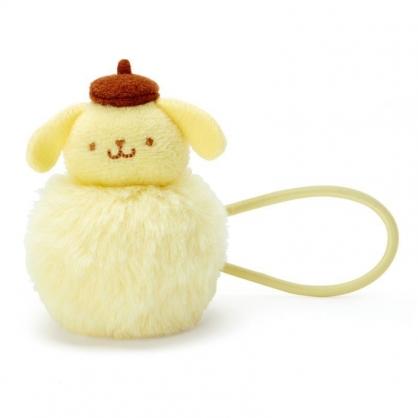 〔小禮堂〕布丁狗 毛球造型絨毛彈力髮束《黃棕》髮圈.造型髮束