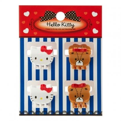 〔小禮堂〕Hello Kitty 迷你大臉造型塑膠髮夾組《4入.棕白》瀏海夾.迷你鯊魚夾