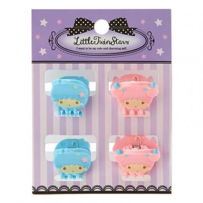 〔小禮堂〕雙子星 迷你大臉造型塑膠髮夾組《4入.粉藍》瀏海夾.迷你鯊魚夾