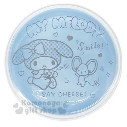〔小禮堂〕美樂蒂 日製磁吸式圓形塑膠置物盒《藍灰.拿相機》收納盒.餅乾盒