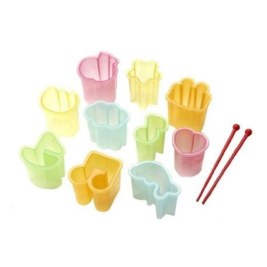 〔小禮堂〕日本TORUNE 日製造型塑膠餅乾壓模組《10入.綠黃.音符》模型.蔬菜壓模.烘培模具
